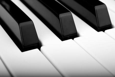 Closeup of piano keyboard, small depth of field