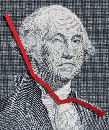 george washington: Closeup of a sad George Washington from a One Dollar Bill with an illustration representing weakening dollar