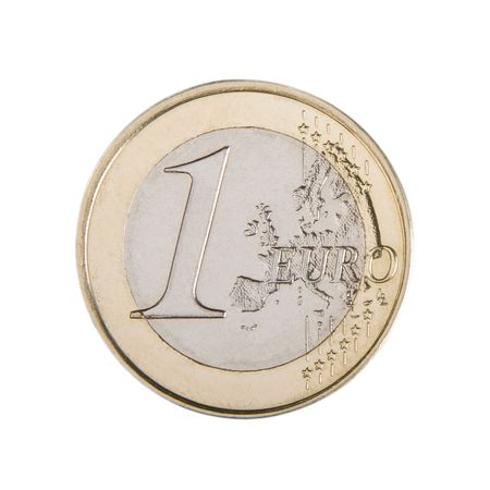 1 euro: Close-up of an uncirculated one Euro coin.