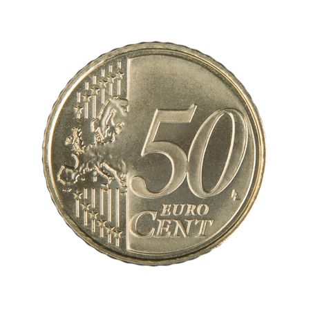 uncirculated: Close-up of an uncirculated fifty Euro cent coin.