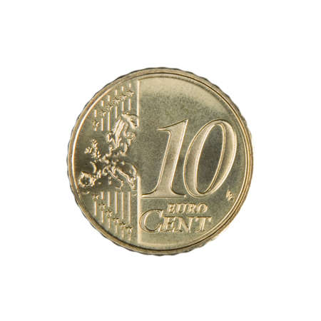 uncirculated: Close-up of an uncirculated ten Euro cent coin. Stock Photo