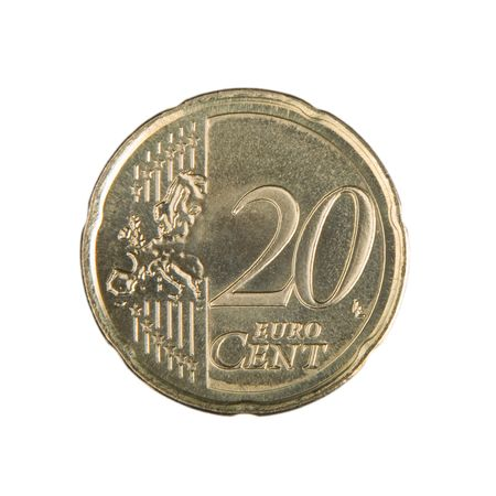 uncirculated: Close-up of an uncirculated twenty Euro cent coin. Stock Photo