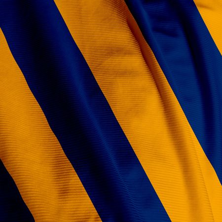 Close up of a blue and yellow colored flag photo