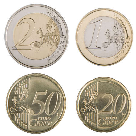 Close-up of uncirculated 1 and 2 Euro and 20 and 50 Euro cent coins.