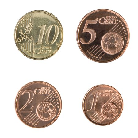 cent: Close-up of uncirculated 1, 2, 5, and 10 Euro cent coins.