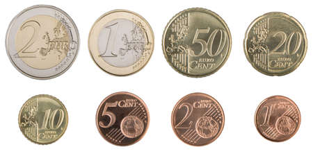 uncirculated: Close-up of the eight uncirculated Euro coins. Stock Photo
