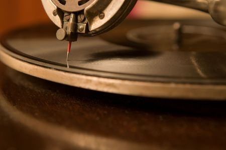 phonograph: Closeup of an old gramophone, shallow depth of focus