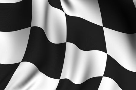 Rendering of a waving chequered flag with accurate colors and design. Stock Photo