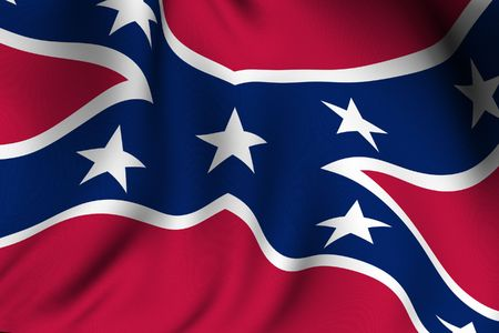 Rendering of a waving Confederate flag with accurate colors and design. photo