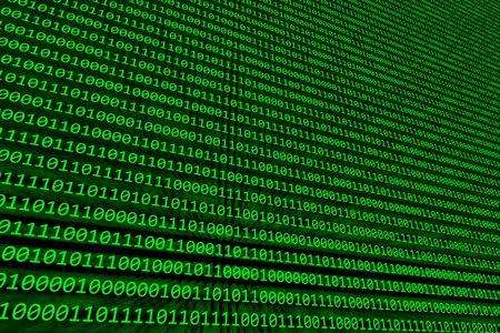 Abstract background of binary code illuminated on a green computer screen photo