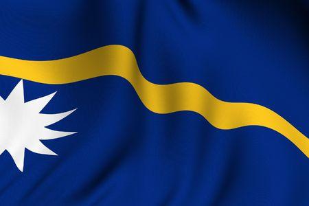 nauru: Rendering of a waving flag of Nauru with accurate colors and design.