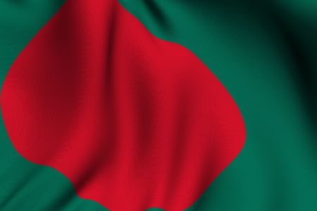 Rendering of a waving flag of Bangladesh with accurate colors and design and a fabric texture. photo