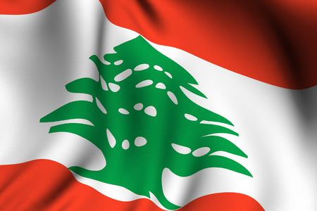 Rendering of a waving flag of Lebanon with accurate colors and design and a fabric texture. photo