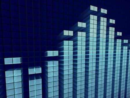 decibels: 3d abstract illustration of a graphic equalizer Stock Photo