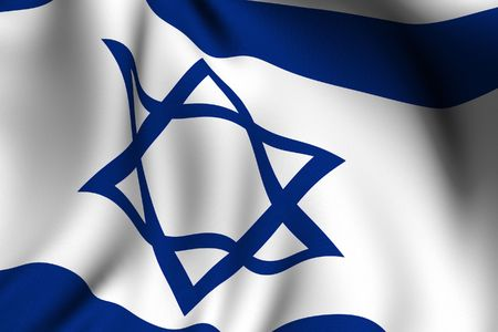 Rendering of a waving flag of Israel with accurate colors and design and a fabric texture. photo