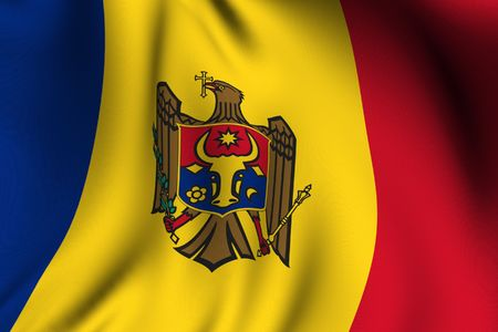 Rendering of a waving flag of Moldova with accurate colors and design and a fabric texture. photo