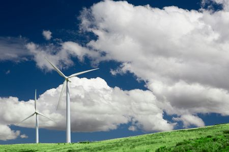 Wind turbines standing in a field in central Spain. Stock Photo - 3407055