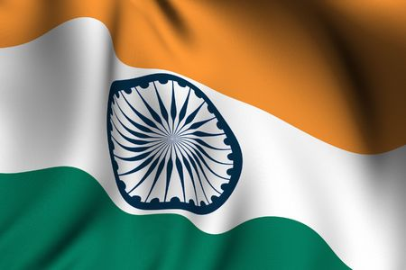 Rendering of a waving flag of India with accurate colors and design and a fabric texture.