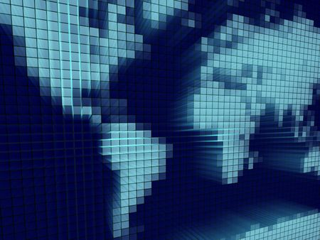 comprised: 3d astratto illustrazione di una mappa del mondo pixelated composto da puntini blu incandescente.