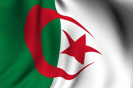 Rendering of a waving flag of Algeria with accurate colors and design and a fabric texture. Stock Photo - 3419926