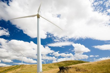 Wind turbines standing in a field in central Spain. Stock Photo - 3605766