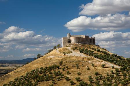 cid: Jadraque Castle (Castillo de Jadraque) dates from the 15th century and is located in Guadalajara province, Spain. Stock Photo