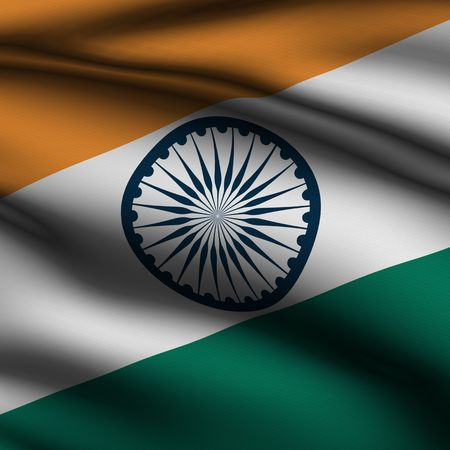 Rendering of a waving flag of India with accurate colors and design and a fabric texture in a square format. Stock Photo - 3636516