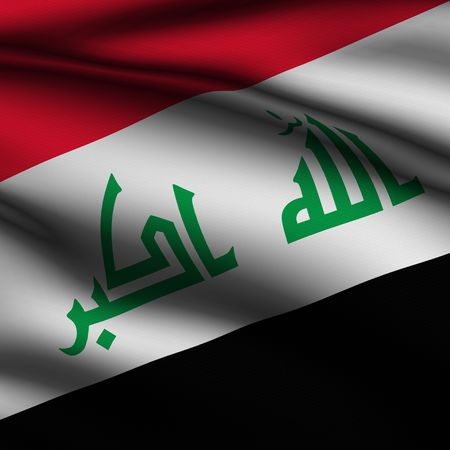 Rendering of a waving flag of Iraq with accurate colors and design and a fabric texture in a square format. photo