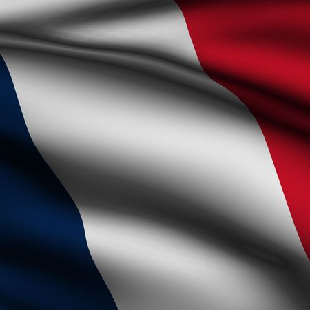 Rendering of a waving flag of France with accurate colors and design and a fabric texture in a square format. Stock Photo - 3660820