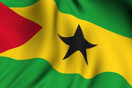 principe: Prestación de agitar una bandera de Santo Tomé y Príncipe con precisión los colores y el diseño y la textura de un tejido.