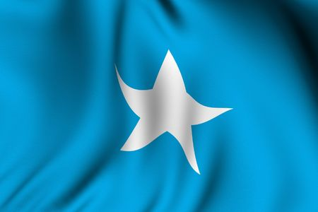 somalian flag: Rendering of a waving flag of Somalia with accurate colors and design and a fabric texture.