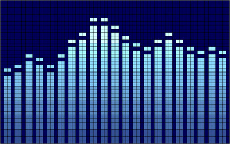 decibels: Vector illustration of a graphic equalizer in blue tones.