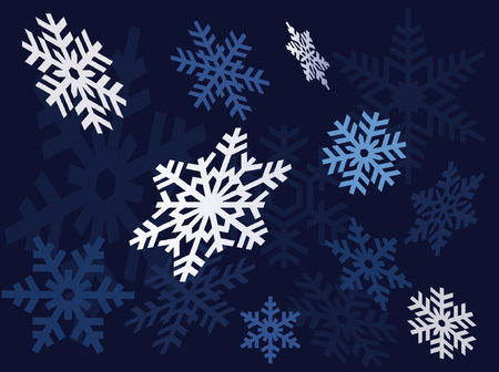 Seamless vector illustration of snowflakes on a blue background. Vector