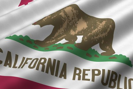 Detailed 3d rendering closeup of the flag of the US State of California.  Flag has a detailed realistic fabric texture. Stock Photo