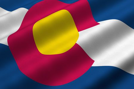 Detailed 3d rendering closeup of the flag of the US State of Colorado.  Flag has a detailed realistic fabric texture.