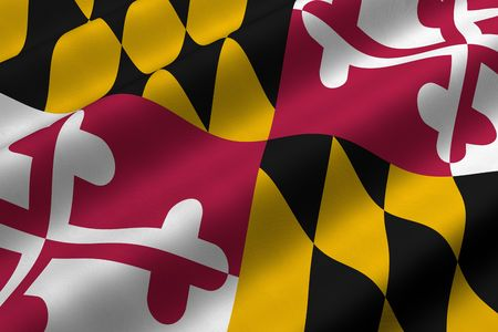 Detailed 3d rendering closeup of the flag of the US State of Maryland