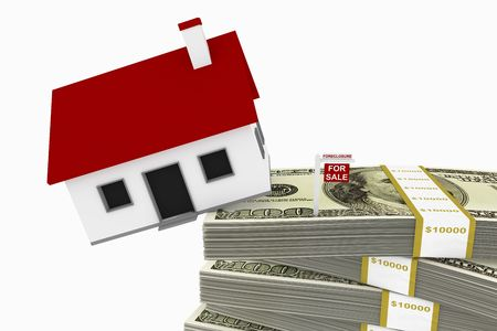 Mountain of mortgage debt concept, comprised of a house falling off a stack of money, with a foreclosure sign. photo
