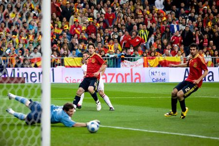MADRID - MAR. 28, 2009: Turkish player Nihat Kahvecis shot goes just wide of goal during the first half of Spains 1-0 victory over Turkey in their World Cup Qualifier.