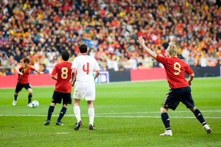 MADRID - MAR. 28, 2009: Spains Fernando Torres calls for the pass during the second half of their 1-0 victory over Turkey in their World Cup Qualifier.