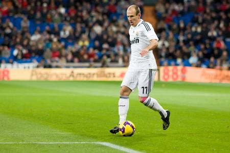 MADRID - JAN. 25, 2009: Arjen Robben of Real Madrid during a Spanish First Division league match against Deportivo La Coruna.