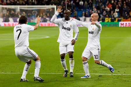 MADRID - JAN. 25, 2009: Real Madrid players celebrate a goal during a Spanish First Division league match against Deportivo La Coruna.