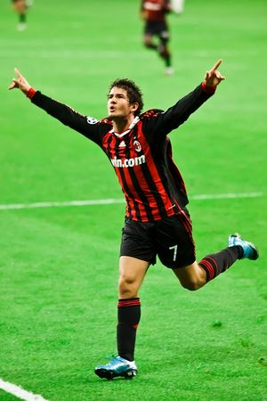 MADRID - OCT. 21, 2009: AC Milans Brazilian striker Alexandre Pato celebrates the second goal of Milans 3-2 victory over Real Madrid in Champions League group stage action.