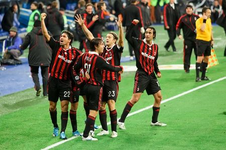 MADRID - OCT. 21, 2009: AC Milans players celebrate the winning goal of Milans 3-2 victory over Real Madrid in Champions League group stage action.