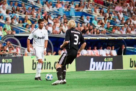 MADRID - AUG. 24, 2009: Cristiano Ronaldo controls the ball during Real Madrid's 4-0 victory over Rosenborg BK in the Trofeo Santiago Bernabeu. Stock Photo - 6886857