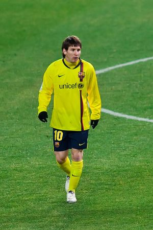 FEB. 14, 2010 - Barcelona player Lionel Messi during Atletico Madrid's 2-1 victory over FC Barcelona in Madrid, Spain. Stock Photo - 6889286