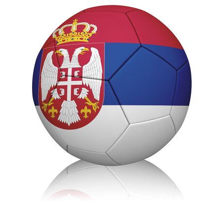 Detailed rendering of the Serbian flag painted/projected onto a football (soccer ball).  Realistic leather texture with stitching.   Stock Photo - 6667637