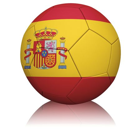 Detailed rendering of the Spanish flag paintedprojected onto a football (soccer ball).  Realistic leather texture with stitching.