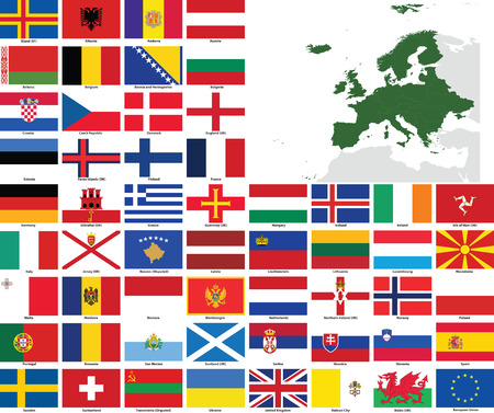 Set of flags and maps of all European  countries and dependent territories.  All flags have accurate colors and design and are in 3x2 rectangular proportions.  Flags and maps of each country are grouped together for easy usage. Vector