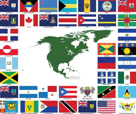continente americano: Conjunto de banderas y mapas de todos los pa�ses del Norte y Am�rica Central y territorios dependientes.  Todos los indicadores tienen colores precisos y dise�o y en proporciones rectangulares de 3 x 2.  Banderas y mapas de cada pa�s se agrupan para uso f�cil.