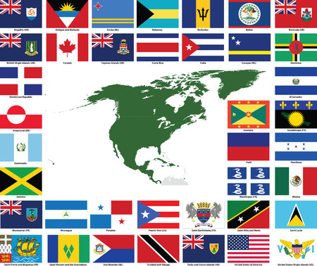 dependent: Set of flags and maps of all North and Central American  countries and dependent territories.  All flags have accurate colors and design and are in 3x2 rectangular proportions.  Flags and maps of each country are grouped together for easy usage. Illustration